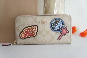 NWT Coach C1946 Disney X Coach Accordion Zip Wallet Signature Canvas W Patches