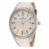 Jacques Lemans Men's Sport 46mm Beige Dial Leather Watch