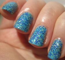 NEW! NAILS INC Nail Polish Lacquer in PUDDING LANE ~ Blue + Navy/Gold glitter