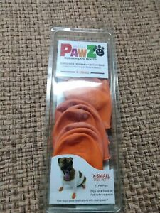 Pawz 12 Rubber ORANGE X-SMALL Water Proof Dog Boots, Reusable SEALED NEW!!