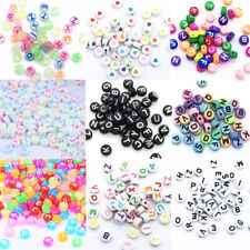 Mixed Alphabet Letter Heart Acrylic Beads 4*7mm Round Flat For Jewelry Making