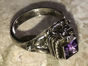 Vintage Sterling Silver Amethyst Stone LOCKET POISON RING SIZE ? Lily Of Valley