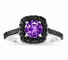 1.67 Carat Amethyst Engagement Ring,14K White Gold Certified Unique Handmade