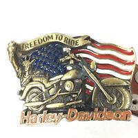 Boucle de Ceinture Harley Davidson Freedom To Ride 1991 91 Statue De La Liberté