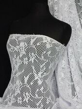 White Fishnet Abstract Net Stretch Fabric Q977 WHT