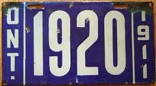 Old Photo. 1911 Ontario Vehicle License Plate '1920'
