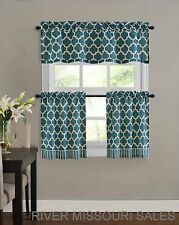 "Fretwork Window Valance & Tier Set, Teal,  3 Pieces, Modern Size: 58"" x 24"" -NEW"