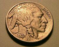 1927-S Buffalo Nickel Ch VF+ Very Fine + Toned Original Indian Head 5C US Coin