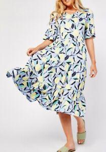New Stunning Bonprix Lemon Print Size 14 Floaty Midi Tiered Smock Dress