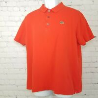 Lacoste Mens Polo Shirt Sport Alligator Croc Logo Orange Size 7 XL Short Sleeve