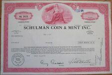 'Schulman Coin & Mint, Inc.' 1975 Stock Certificate