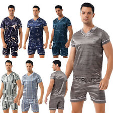 Men Silk Satin Pajamas Set Short Sleeve Top Sleepwear Nightwear Loungewear 2PCS