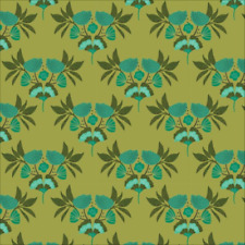 Organic Cotton Fabric 'Forest Jewels Emerald Stems Green' Cloud9 Quilters Cotton