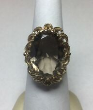 Stunning 14Kt Yellow Gold Large Oval Smokey Topaz Ring Size 6-6.25