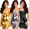 Women's Synthetic Leather Metallic Clubwear Mini Dress D7B9