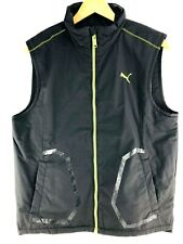 Puma Zip Up Vest Mens Medium Black Lime Green Sleeveless Jacket Coat RUNNING