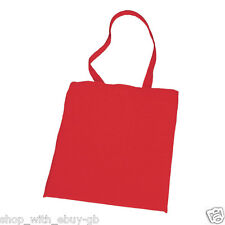 10 RED PLAIN COTTON SHOPPING SHOULDER TOTE BAGS - FAST DESPATCH - SCHOOL GYM