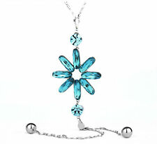 New Made With Swarovski Crystal Long Chain Sparkly Blue Flower Necklace Pendant