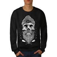 Wellcoda Skull Beard Cool Fashion Mens Sweatshirt,  Casual Pullover Jumper