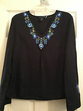 Anne Carson Women's Linen Embroidered Top, Size Large