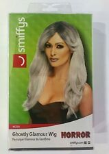 Ghostly Glamour Wig Grey Dark Root Haloween Wig Adult Womens Fancy Dress Costume