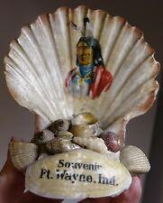Vintage Antique Victorian Sea Shell Art Seashells Souvenir Indian Fort Wayne IND