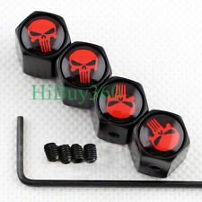 4X BLACK Anti-theft Car Wheel Tire Valve Stem Caps Styling Red Skull Dust Cover
