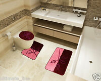 Bath Mat Toilet Rug Set 2 & 3 piece Non-Slip Bathroom Pedestal Washable Pink