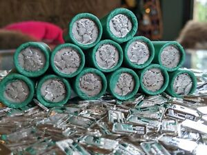 SILVER MERCURY DIME WHEAT CENT COIN ROLL & 3 SILVER BULLION BARS - US COIN LOT