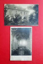2 x Militär Foto AK 1. WK Frankreich ? Wohnhaus Villa und Kirche   ( 39724