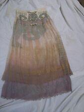 SALE Violeta Vtg 80's HANDPAINTED Silk Chiffon BOHO Maxi Skirt Spain Size 42