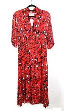 BA&SH Red Floral Print Button Front Elfe V-Neck Midi Dress Size Medium NEW $418