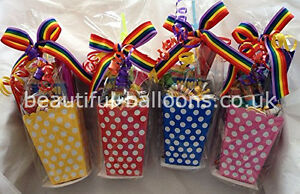 30 Colourful Polka Dot Treatboxes with 30 Cello Bags party bag rainbow