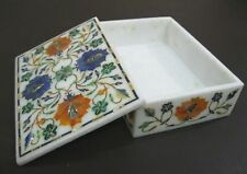 Marble Jewelry Box Marquetry Floral handmade Inlay Work Home Decor gifts