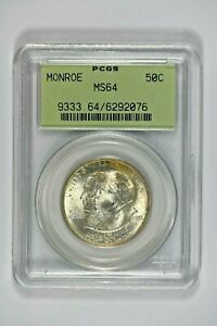 1923 PCGS MS64 Monroe Classic Commemorative Half Dollar in Old Green Holder(OGH)