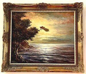 Vintage Framed Oil Painting Signed Ostsee Ocean Painting Baltic Sea German 1970