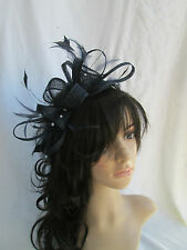 NEW..BLACK SINAMAY & FEATHER FASCINATOR.WEDDING OCCASION.rosette