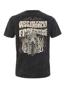 Dragstrip Clothing Ass in the Saddle acid wash black chopper bobber t`shirt