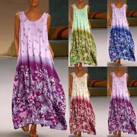 Women's Boho Floral Sleeveless Maxi Dresses Ladies V-neck Summer Long Dress UK
