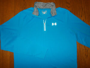 UNDER ARMOUR 1/4 ZIP LONG SLEEVE BLUE FITTED RUNNING SHIRT MENS LARGE EXCELLENT