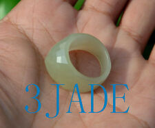 17mm Faceted Natural Nephrite Jade Saddle Ring Wedding Jewelry US Size 7