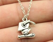 Silver Graduation Necklace Chain Pendant Scroll Ceremonial Mortarboard Hat Gift