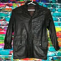 Rare Men's Brown Leather Bomber Motorcycle Jacket Coat Korea Size Small VINTAGE