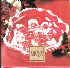 "Mikasa 'Carolers' 8 1/4"" Candy Sweet Dish Christmas Holiday Clear Germany Glass"