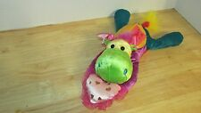 plush Wal-mart hippo w/ pink heart pillow multi color bow green yellow purple