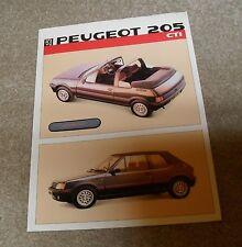 Peugeot 205 CTI Brochure / Flyer 1986