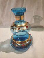 "Vintage Murano Venetian Art Glass 6"" Vase Aqua Blue 24k Gold Venezia Italian MCM"