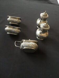 antique solid silver cruet set, 5 Piece.
