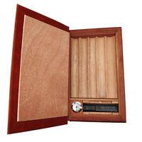 COHIBA Brown Leather Cedar Cigar Book Humidor Case 5 Slots Humidifier Hygrometer