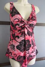 Roxanne Swimsuit Bathing Suit Bra-Sized 18 42D Hawaiian Tropical Pink Black